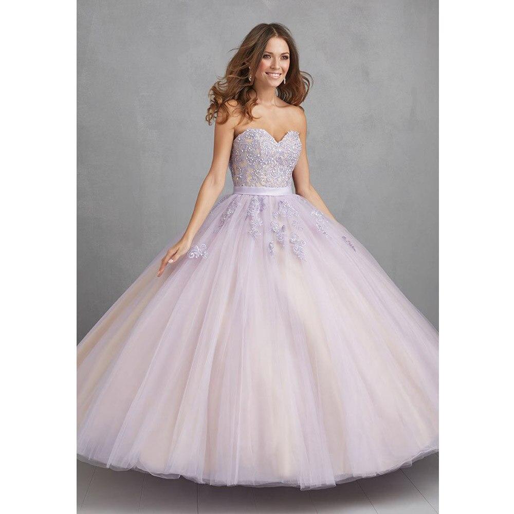 964cba80b8 Lavanda vestidos de quinceañera barato Caliente 2017 vestidos de 15 anos  Apliques de Encaje Balón vestido Vestido de Quinceañera Barato en Vestidos  de ...