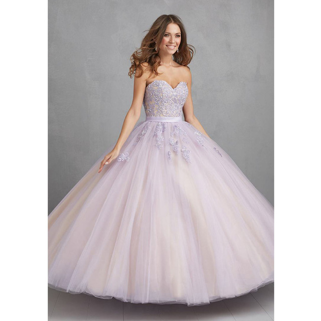 9f7a010fc Lavanda vestidos de quinceañera barato Caliente 2017 vestidos de 15 anos  Apliques de Encaje Balón vestido