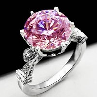 2 Colors Women Fashion 925 Sterling Silver Crown Rings Round Cut 3ct Pink Diamonique Cz Engagement