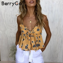 BerryGo Sexy v neck flower print camisole shirt women Backless bow strap tops tees female 2018 Pleated casual summer tank top