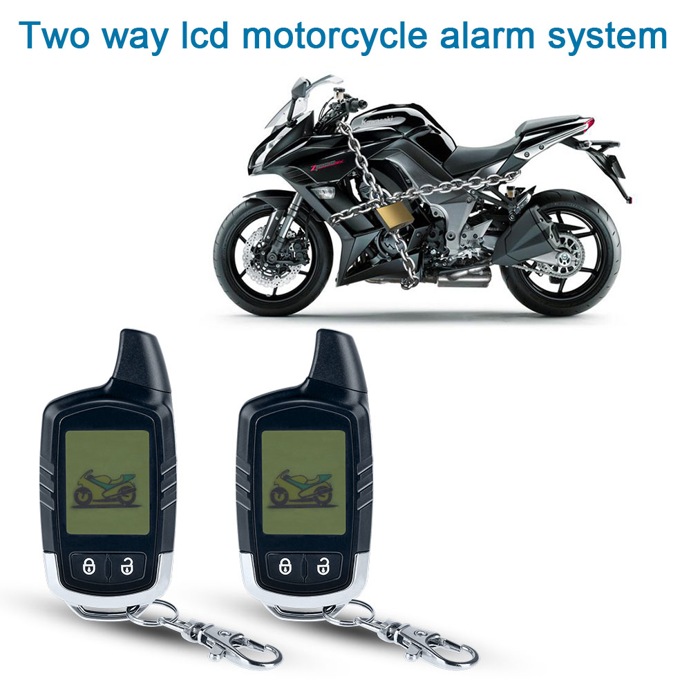 Motorcycle Alarm System Two Way Microwave Sensor Anti - Theft  Equipment With 2 LCD Transmitters Remote Engine Start