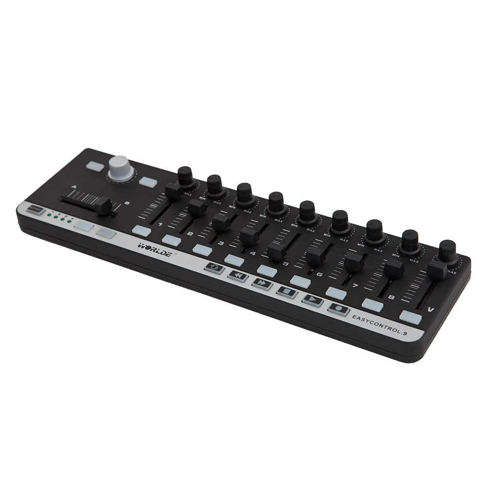 وحدة تحكم ميدي لوحة المفاتيح المحمولة الصغيرة USB 9 ذات التحكم النحيف الاحترافية