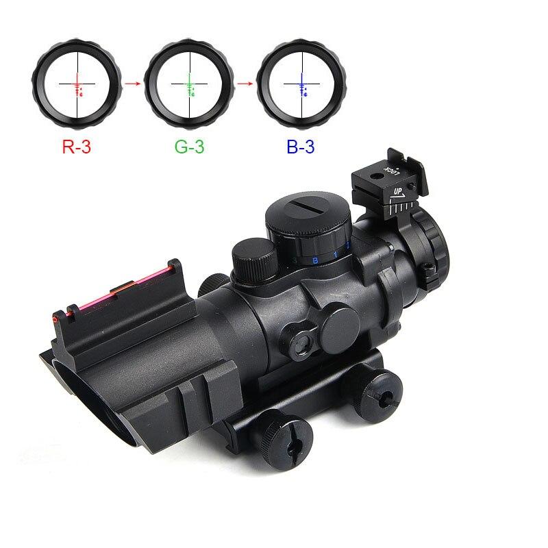 Lunette de visée optique tactique CS 4X32 Acog rouge et vert et bleu avec lunette de tir à Fiber réticule à trois éclairages pour lunettes de chasse
