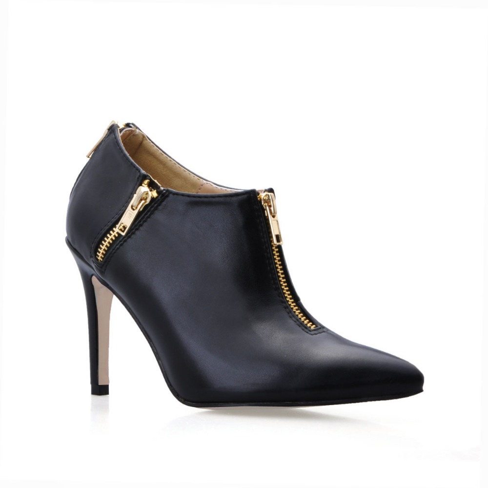 ФОТО plus size 35-44 women brand high heels shoes sexy thin heeled pumps solid pointed toe ankle boots women single shoes zipper boot