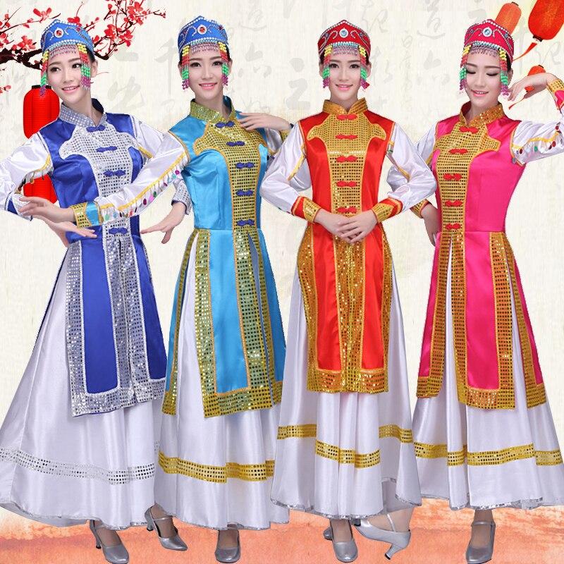 New Mongolian dress Women's dress Inner Mongolia Dance dress Mongolian robe Adult ethnic China Minority performance clothing