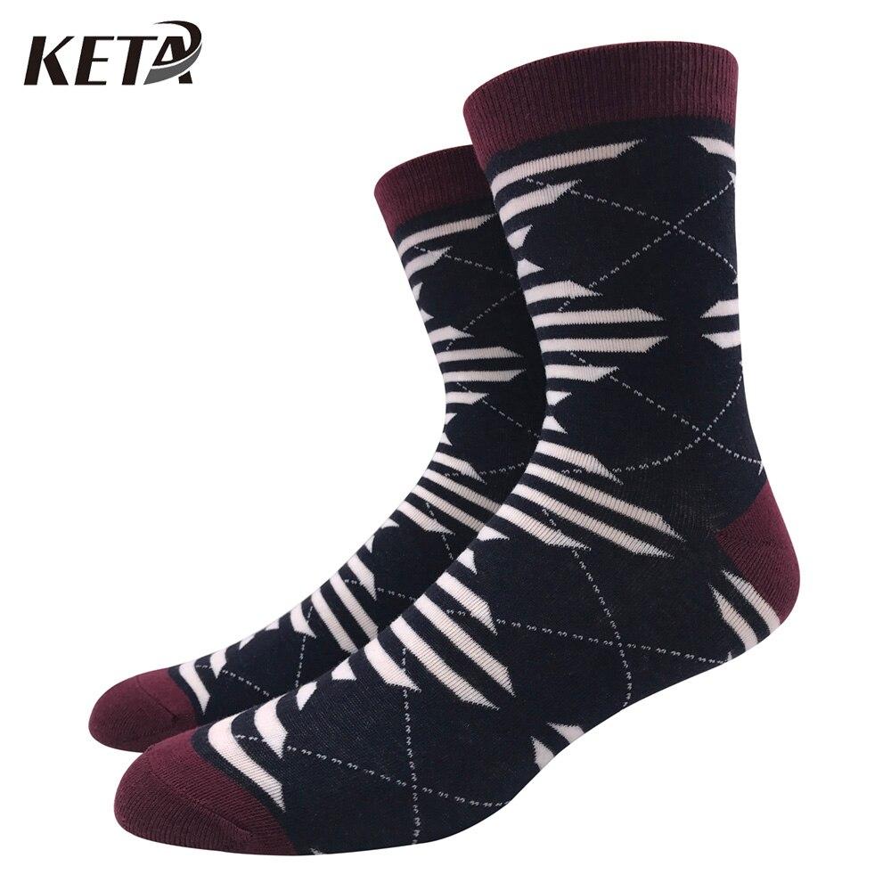 KETA Fashion New Men Socks Colorful Plaid Printed Crew Cotton Socks For Male Striped Casual Business Dress Socks Meias