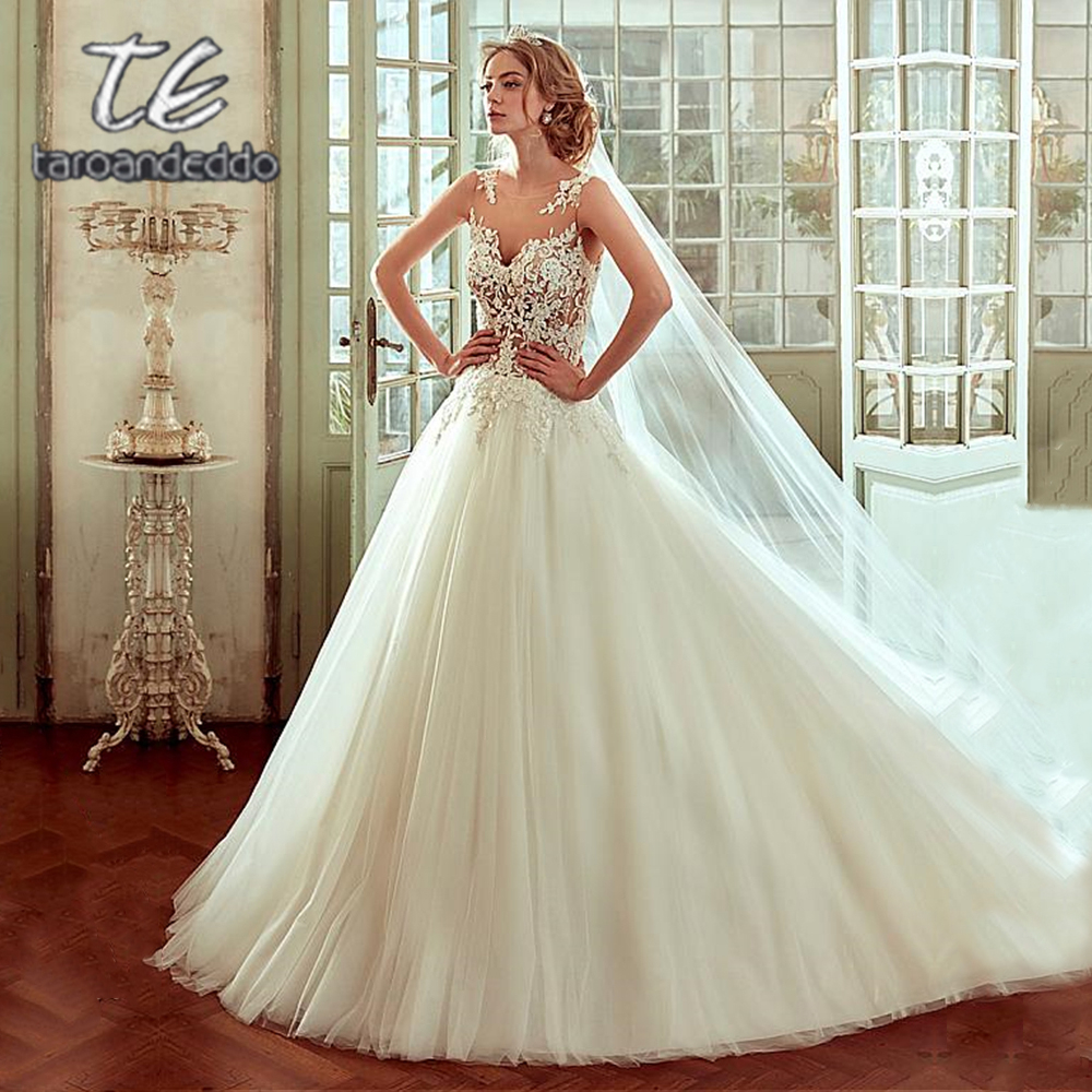 Vestido De Noiva Scoop Tulle Wedding Dresses Illusion Back Applique Sleeveless Bridal Gown Dress with Back Buttons