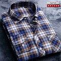 Новый 2017 Марка мужская С Длинным Рукавом Рубашка-Отворот полосы Оксфорд Рубашки мужские Рубашки-Случайные Сплошной Цвет Моды рубашка