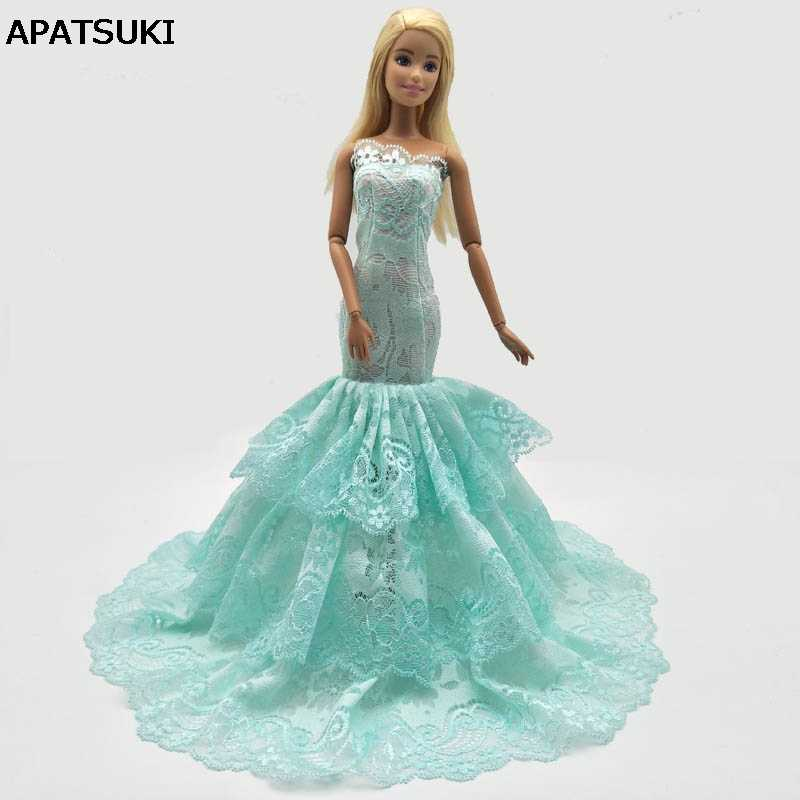 Green 3-layers Lace Mermaid Dress For Barbie Doll Clothes Fishtail Wedding  Dress For Barbie d3c3f4e7c592