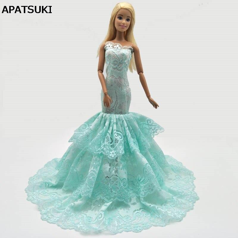premium selection c7902 e90be Verde 3-strati Della Sirena Del Merletto Del Vestito Per Barbie Doll  Vestiti Coda di Pesce Abito Da Sposa Per La Bambola di Barbie Vestiti di  Abiti ...