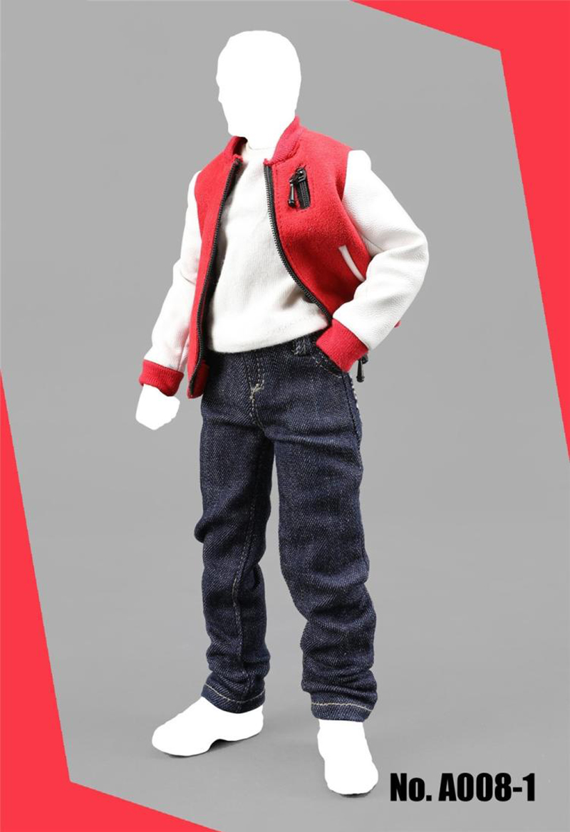 A008 1 6 Men s Baseball Clothes Set Coat Pants and T shirt Red Blue for