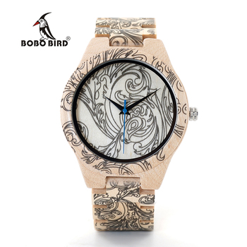 Bobo Bird Fashion Style Wood Band Quartz Wooden Watches
