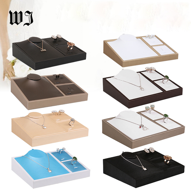 Qulaity Faux Leather Ring Necklace Earrings Jewelry Display Tray Showcase Set Jewellery Organizer for Bague Colar Stand Holder