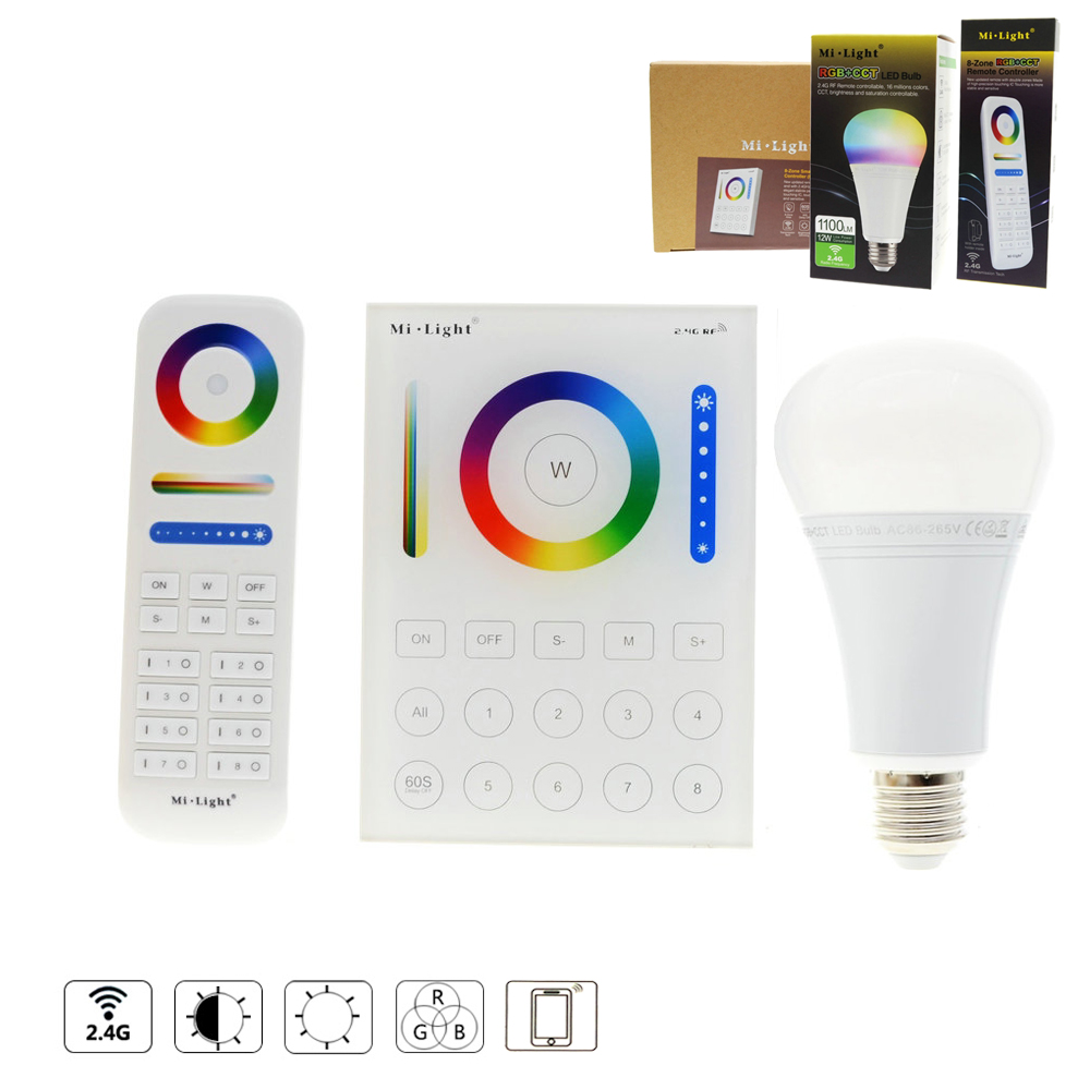 Mi.Light RGB bulbs CCT Remote Controller 2.4G 8 Zone Smart Panel Remote Controller / RGB ...