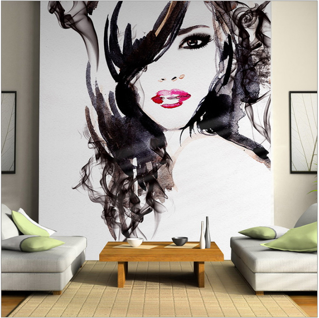 US $19 8 |Free shipping Watercolor character background wallpaper themes  beauty salon salon large mural stereoscopic 3D Custom Size-in Wallpapers  from