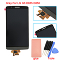 Cinza branca e dourada para lg g3 d855 d850 touch screen display lcd com digitador de vidro montagem completa + adesivo + ferramentas, livre grátis