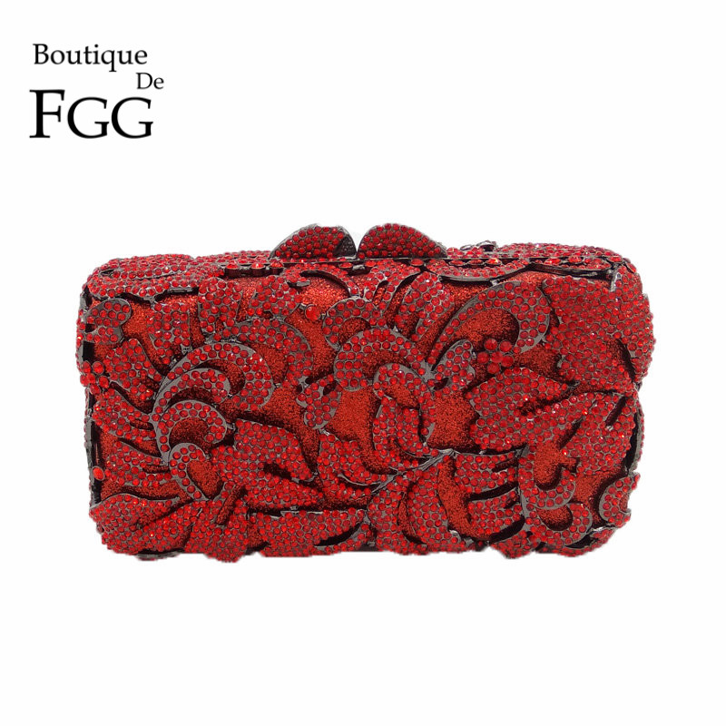 Dazzling Red Rhinestones Hollow Out Women Crystal Evening Bags Flower Party Dinner Metal Clutches Bridal Clutch Wedding Purse gold plating floral flower hollow out dazzling crystal women bag luxury brand clutches diamonds wedding evening clutch purse