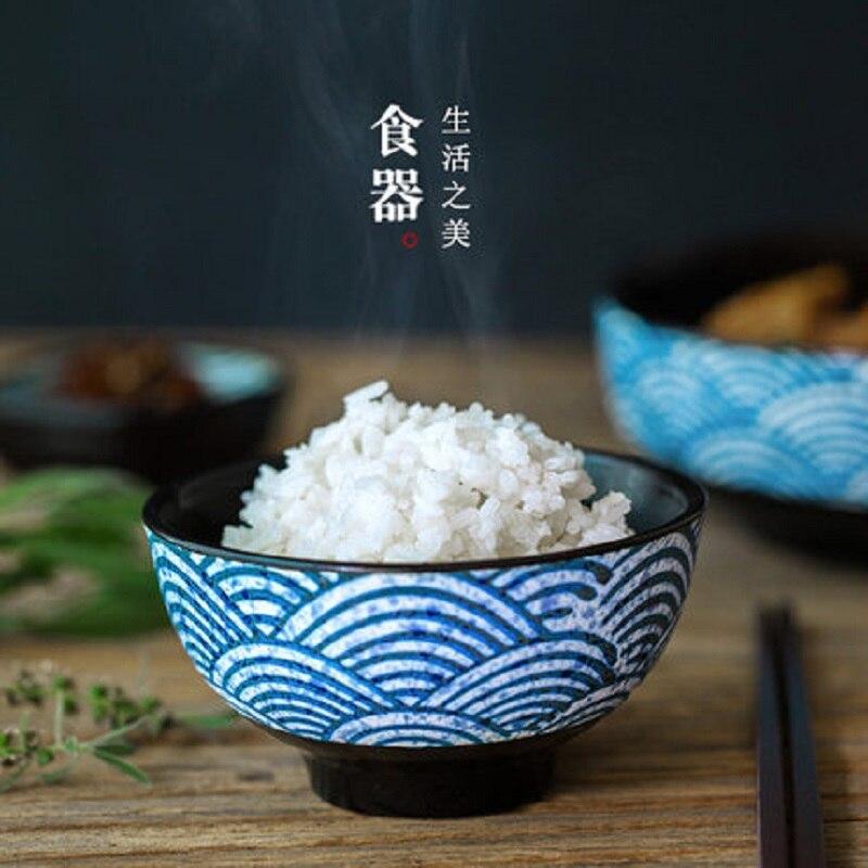 Funnyrunstore Style japonais Cr/éatif Vaisselle En C/éramique Coupe De Leau Bol Assiette Plat Cuisine Vaisselle De La Table Assiette D/îner Bol bleu; Bol