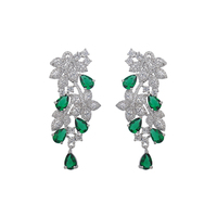 Hot Sale New Style Flowerd Shape Colorful Cubic Zirconia Diamond 925 Sterling Silver Stud Earrings For