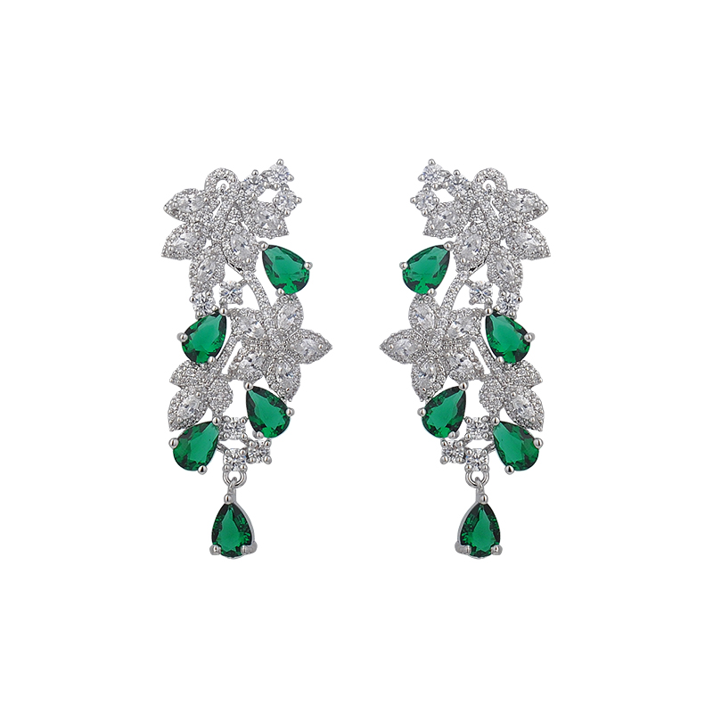 Tree design inspired jewelry vintage ethnic bohemian shiny crystal leaf&polymer clay flower chandelier stud earrings GLE5481
