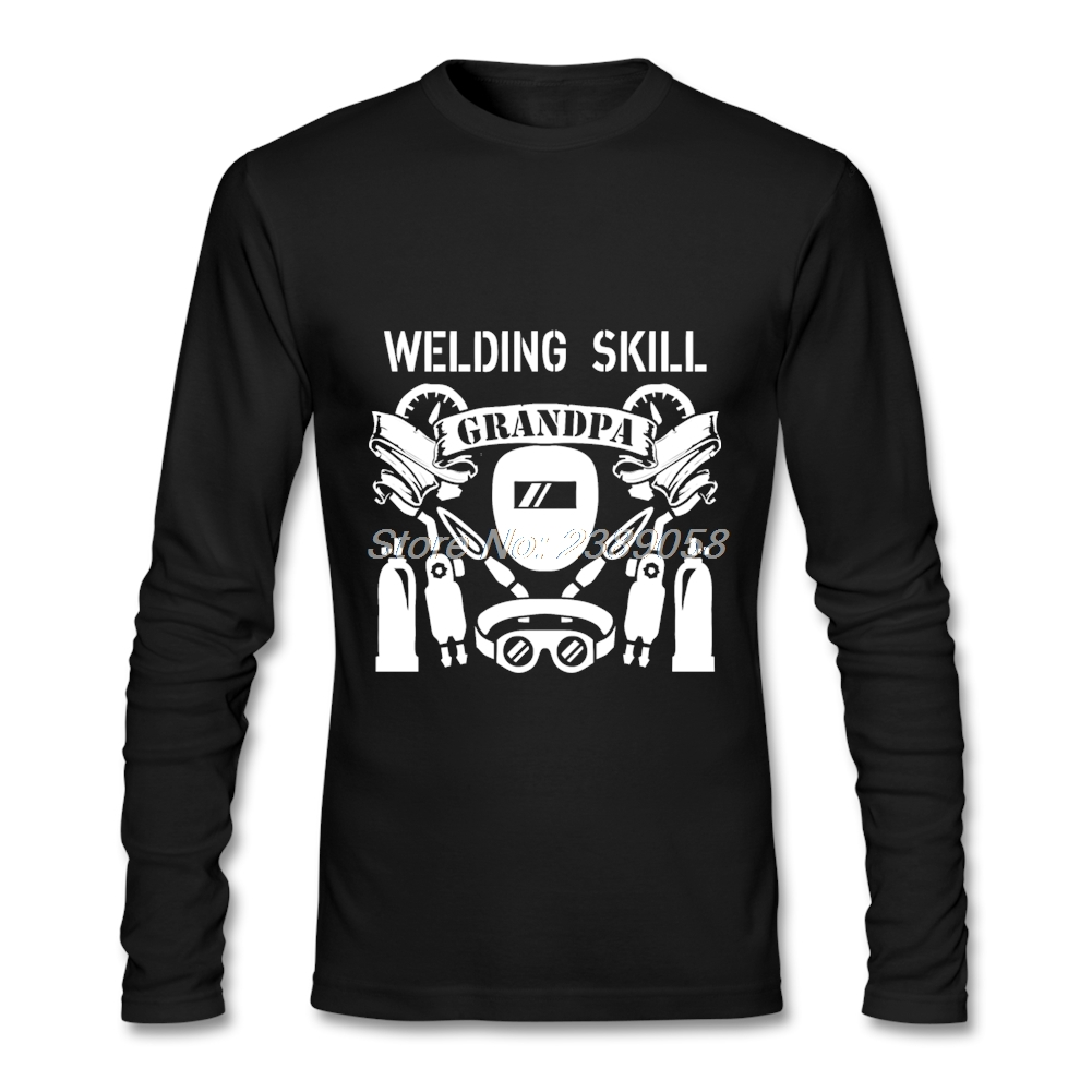 Nouvelle Arrivée Hommes Chemises À Manches Longues Grand-Père avec Compétences De Soudage de Haute Qualité Graphique Tee Tops Organique Coton Mens T chemise