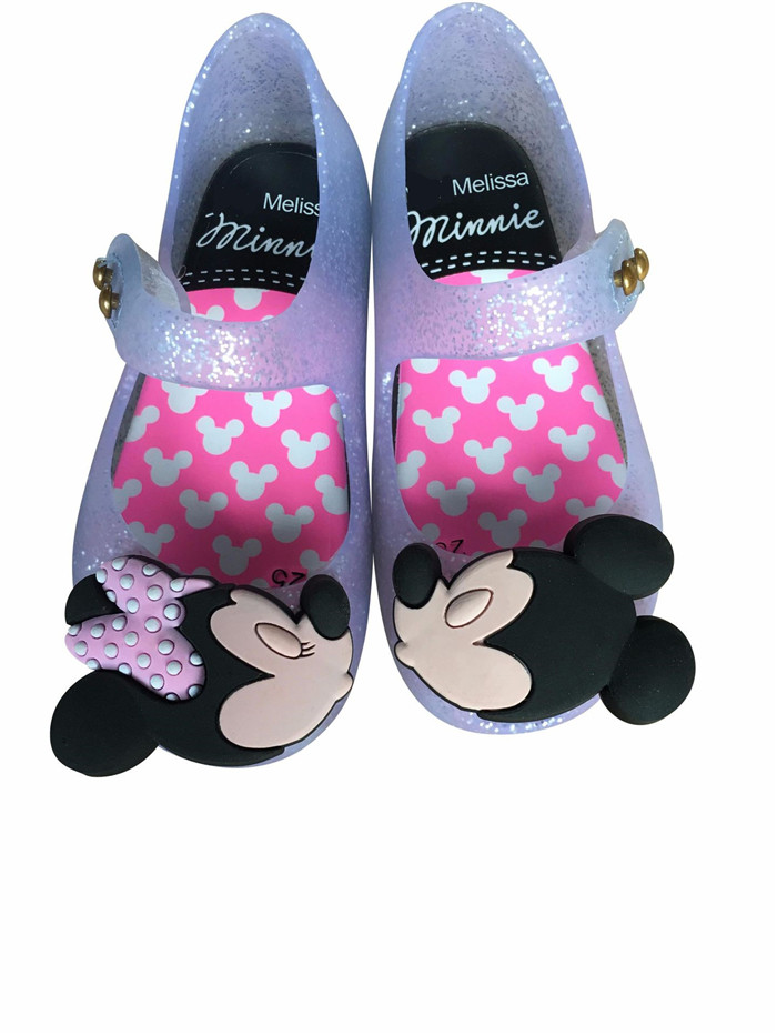 2019 Melissa Mickey & Minnie Shoes Kids Girls Sandals Crystal Jelly Shoes Children Cute Baby Girl Sandals 14.5-17cm