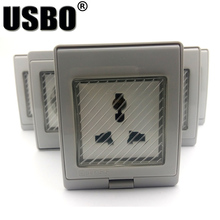 цена на White anti-UV IP55 10A/16A 250V outdoor household socket US AU UK EU Frence Germany Africa electrical AC Power Waterproof Socket