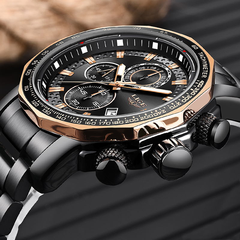 Nuevos relojes para hombre de 2019 LIGE, relojes de lujo deportivos de cuarzo, reloj de acero para hombre, reloj militar a prueba de agua, cronógrafo, reloj Masculino - 2