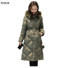 Jackets woman winter coat 2018 long coat female parkas mujer Korean version of the code thicker over knee fur collar down cotton winter coat cloak code female padded in the long section of the korean version of the new slim female student thickened
