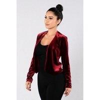 Autumn Fashion Velvet Coats Women Long Sleeve Slim Cardigan Female Outwear Streetwear Brief Solid Bomber Jackets