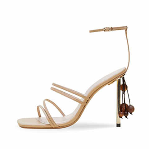 String Bead Women Sandals Runway Square Toe Summer Sandals Narrow Bands Thin High Heels Party Shoes White Shoes Sandalias Mujer Karachi