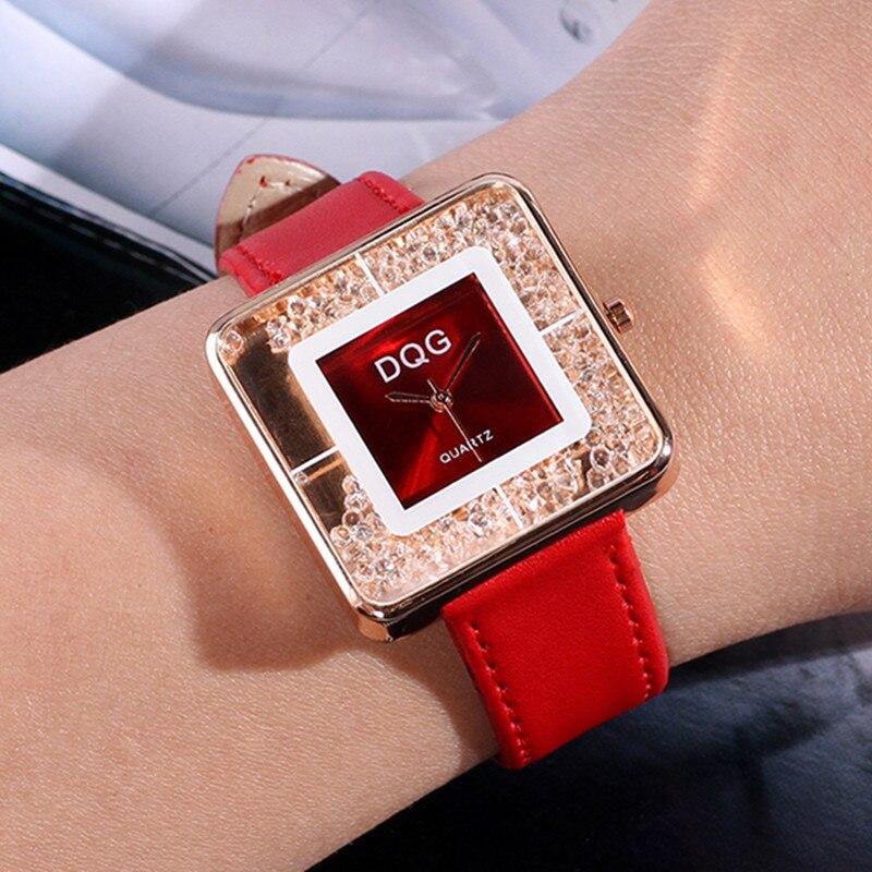 Zegarek Damski 2018 New Fashion Classic Quartz Watch Women Luxury Brand Rhinestone Watches Casual Genuine Leather Wristwatches