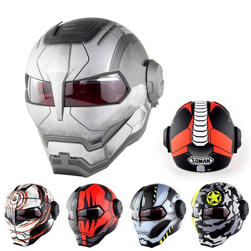Top ABS moto casque moto moto intégral casque motard fer guerrier homme Cool casque moto rbike pièces casque moto cross