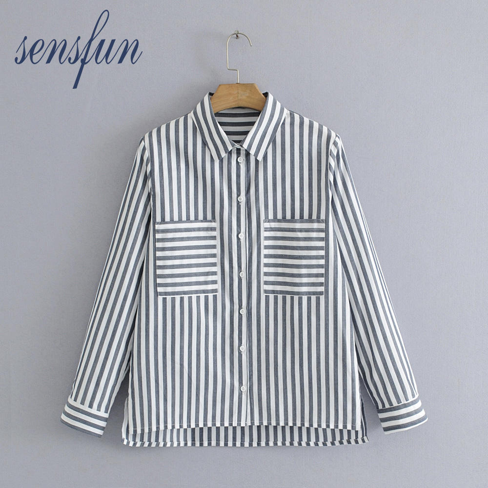 Sensfun Women Blouses Striped Shirts Women Casual Tops Turn-down Collar Long Sleeve Loose Ladies Shirt Tops Clothing Blusas