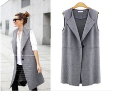 2016 Autumn Long Section Women Jackets Single Button Sleeveless Woman Jacket Fashion Solid Plus Size Female Clothes Coat