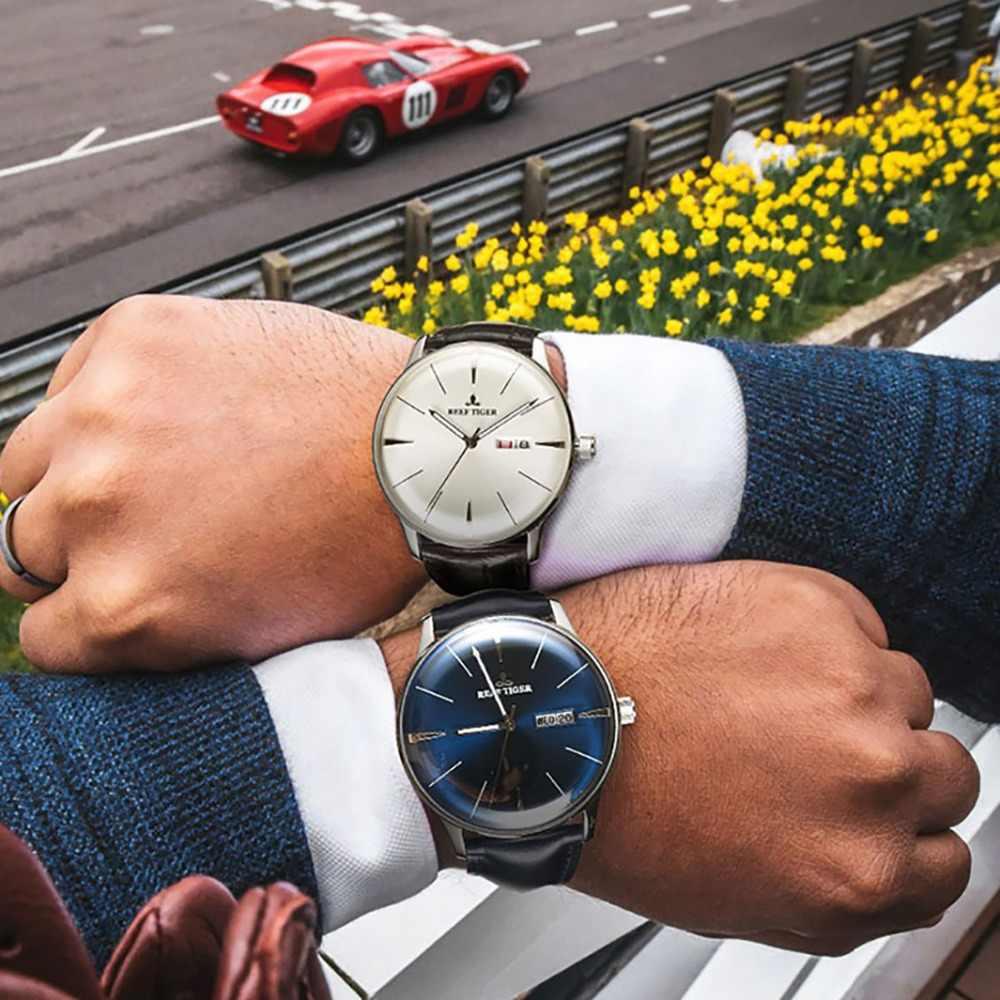 שונית טייגר/RT קלאסי מזדמן שעונים קמור עדשת אמיתי עור רצועת פלדה אוטומטית שעונים עם תאריך יום RGA8238