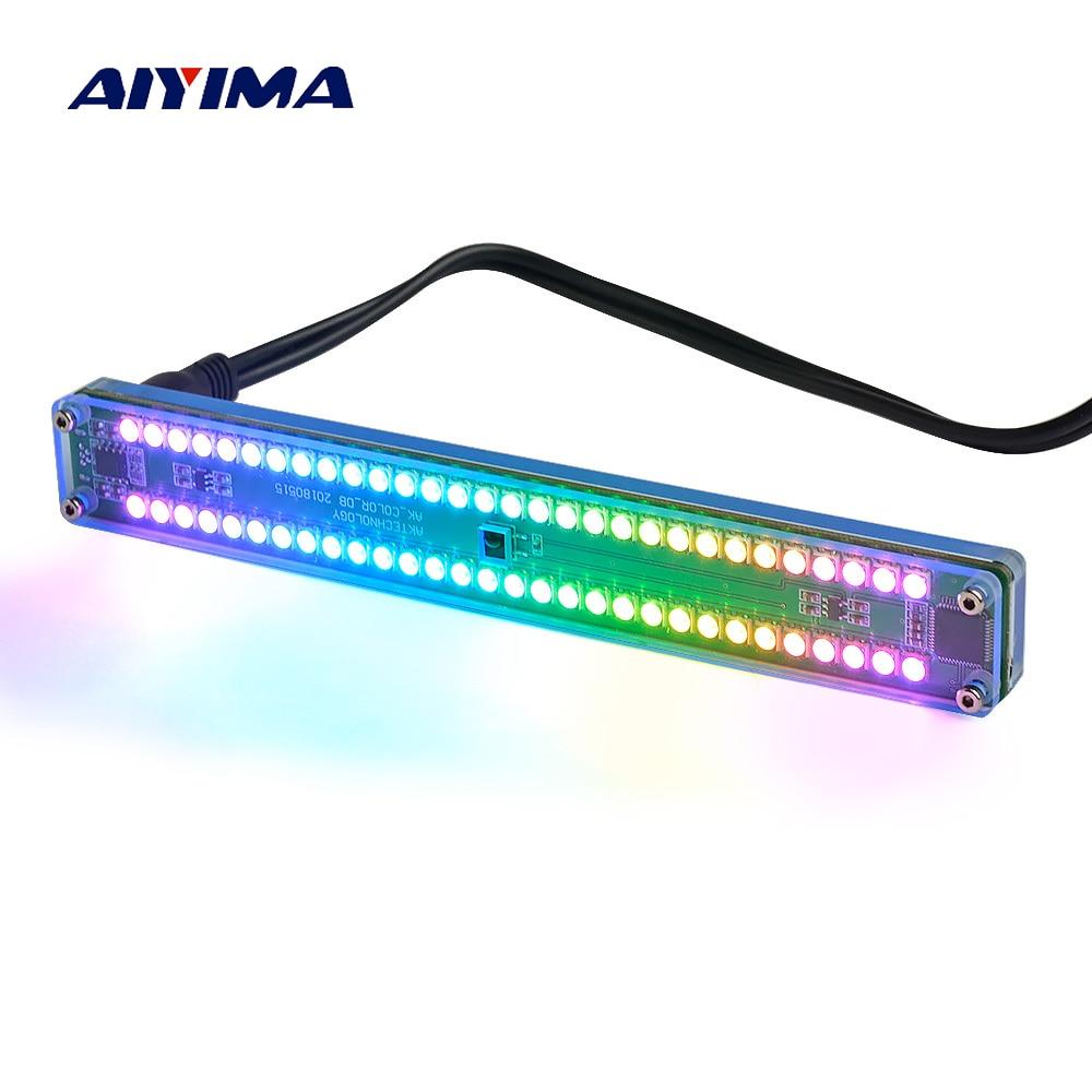 Indicatore del Livello di Aiyima Dual 30 Colorato di Musica Dello Spettro Audio Indicatore Stereo Amplificatore VU Meter Velocità Della Luce Regolabile Con AGC