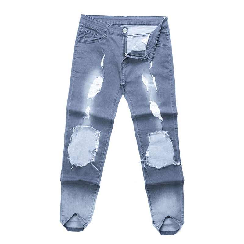 Litthing 2019 new streetwear hiphop personality men jeans side zipper ripped fashion male destroyed skinny 2 colors denim pants