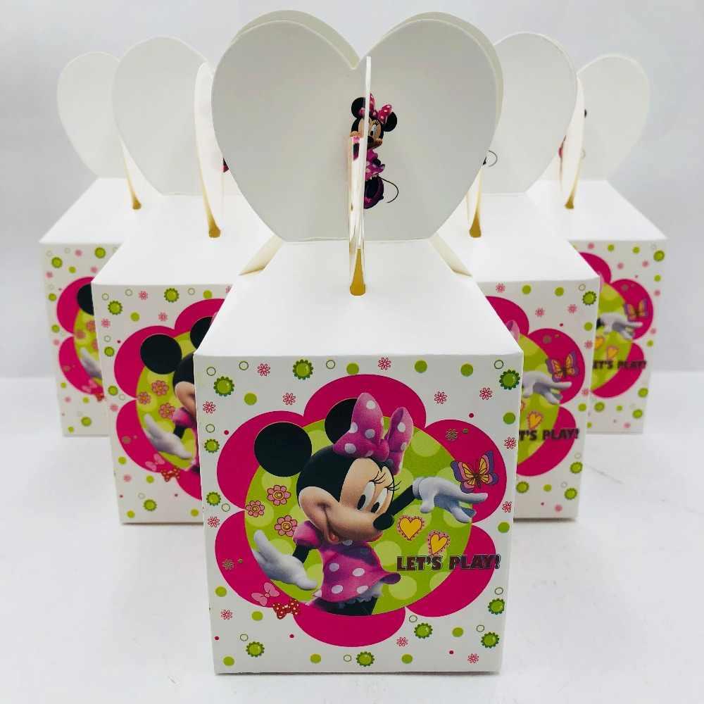 6pcs Minnie Mouse Baby Shower Decorations Ideas Favour Boxes