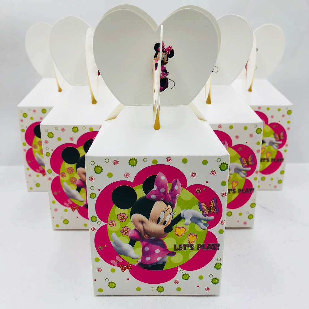 6pcs Minnie Mouse Baby Shower Decorations Ideas Favour Boxes 2nd Birthday Party Supplies Minnie Mouse Clear Favor Candy Boxes