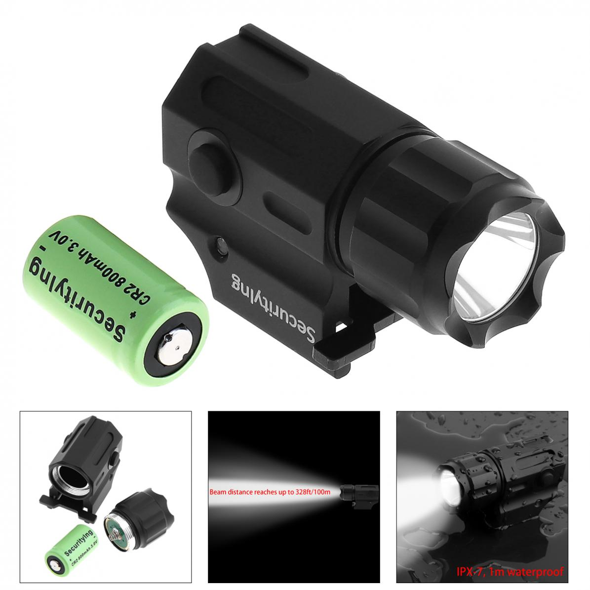 Waterproof G03 XP-G R5 LED 210LM Tactical Flashlight Military Weapon Lights with 2 Modes Light + CR2 3V 800mAh Lithium Battery