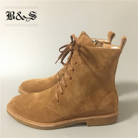 Black& Street Real Picture High Top Lace Up Suede West Boots Raw Rubber luxury comfortable military high Boots real leather