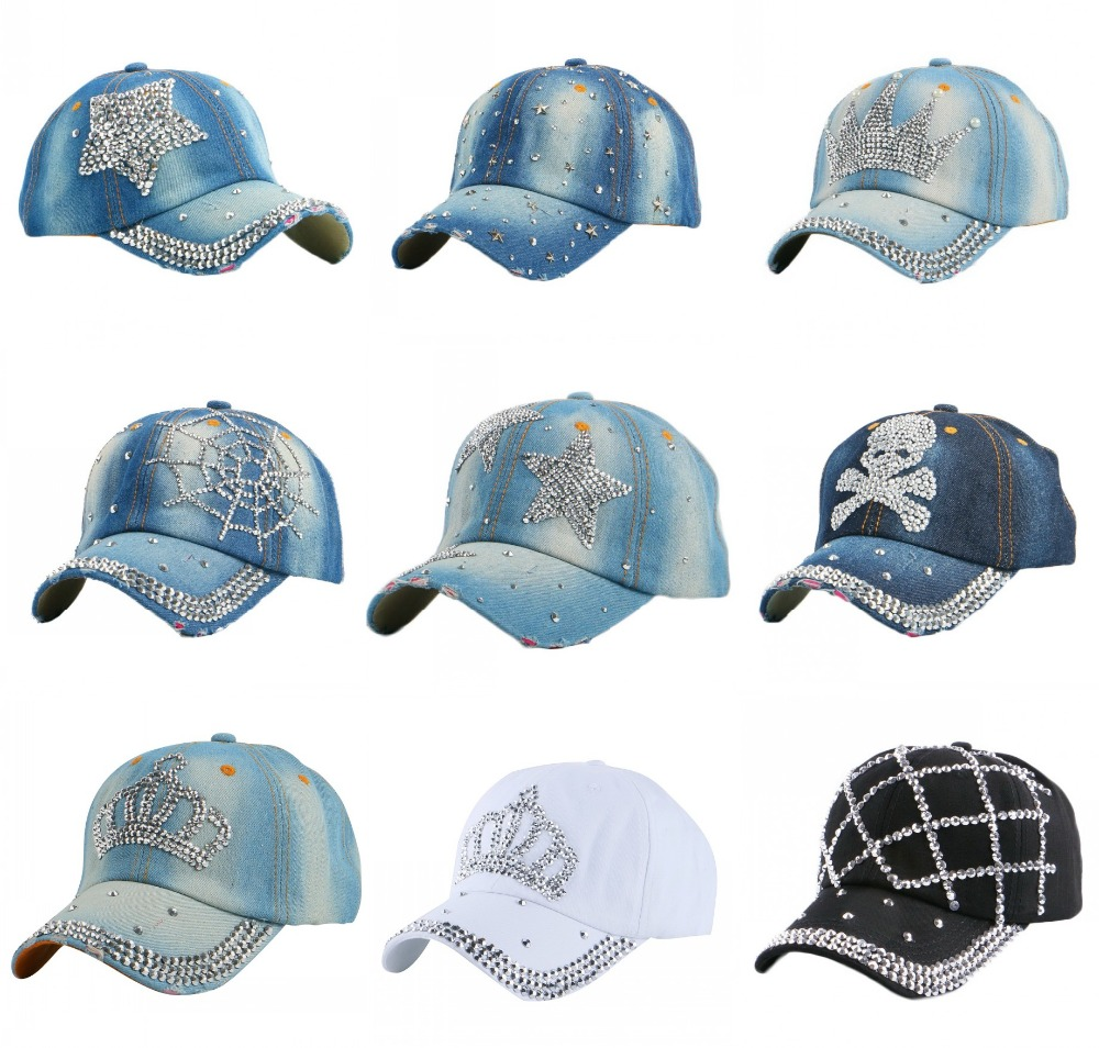 Prix pour Pas cher promotion denim chapeau nouvelle mode femmes fille hommes garçon strass couronne en forme de casquette de baseball femme hip hop snapback chapeaux gorras