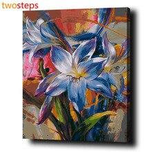 TwoSteps Rahmenlose DIY Digitale Leinwand Ölgemälde Durch Zahlen Bilder Färbung Durch Zahlen Farbe Durch Zahl Kits Blühende Blumen
