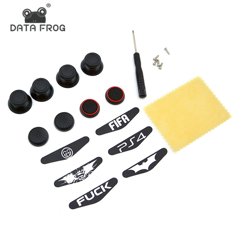 4pcs Black analog joystick stick + Tool +LED Sticker for Sony Playstation 4 ps4 Controller analogue Thumbsticks for dualshock 4