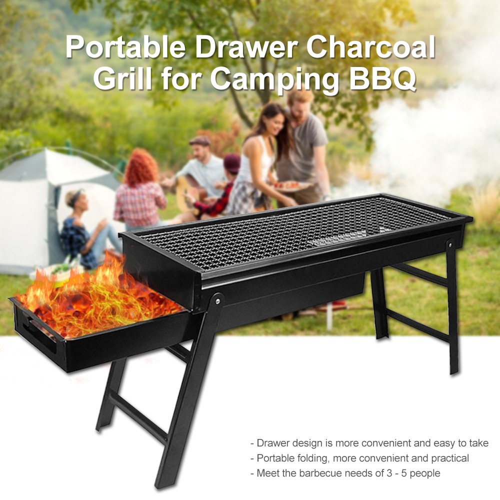 Portable Drawer Charcoal Grill for Camping BBQ Separate detachable folding BBQ Grill Easily Cleaned #3