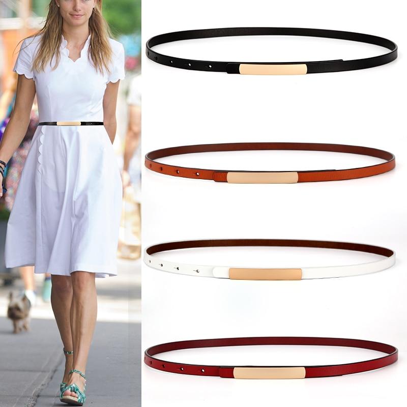 Genuine Leather Belts For Women Black Thin Belt Dress Waistband Cute Strap Belt For Jeans Gold Alloy Buckle Brown Cowskin Belt