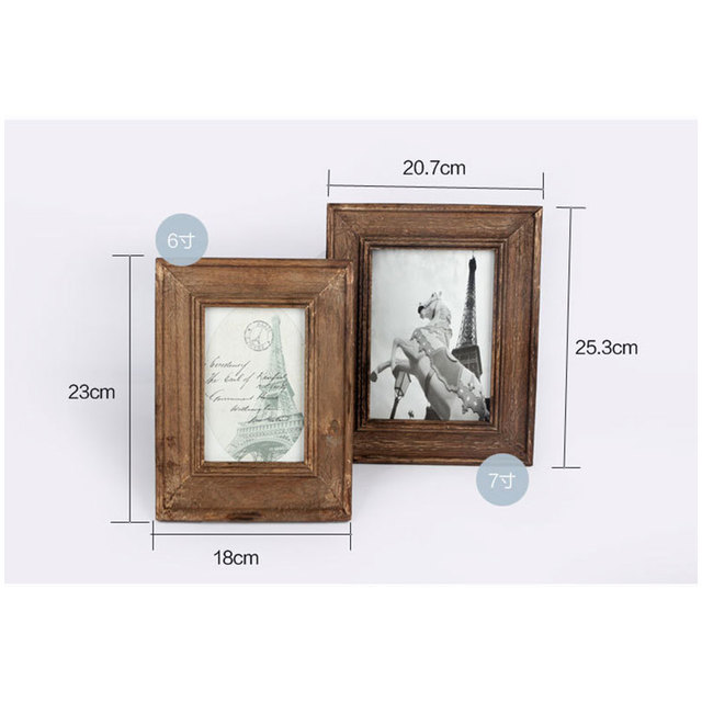 6/7 inch Retro Natural Wood Photo Frame Zakka Vintage Wooden Picture ...
