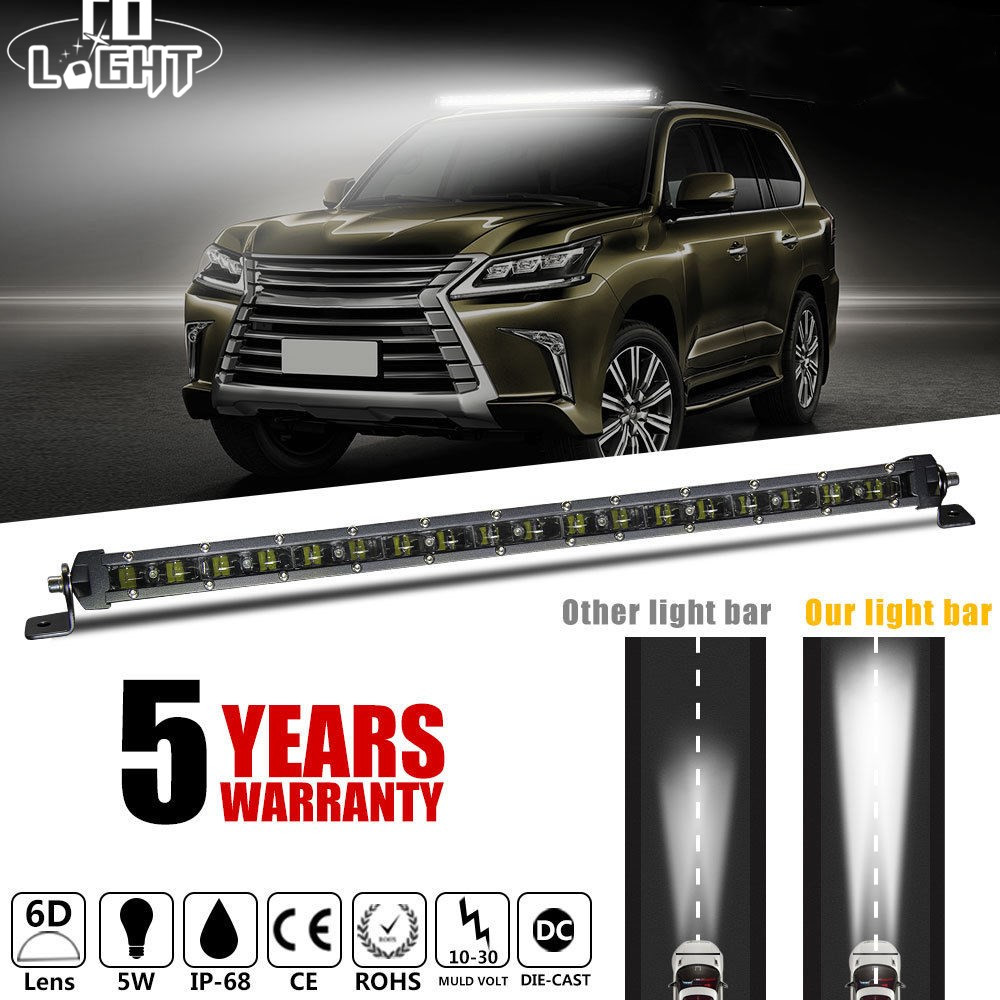 CO LIGHT 6D Super Slim LED Light Bar 20inch 90W Single Row Led Bar Offroad for