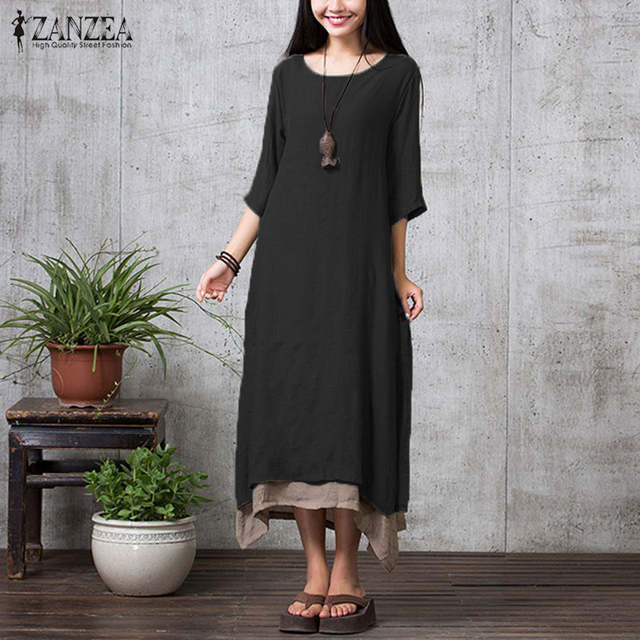 c9e80ec052 ZANZEA Fashion Cotton Linen Vintage Dress 2018 Summer Autumn Women Casual  Loose Boho Long Maxi Dresses